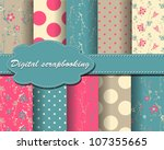 set of vector flower and polka... | Shutterstock .eps vector #107355665