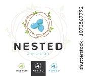 vector bird nest   eggs  logo... | Shutterstock .eps vector #1073567792