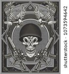 skull tattoo. life is short  | Shutterstock .eps vector #1073594642