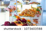 people group catering buffet... | Shutterstock . vector #1073603588