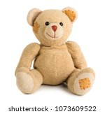 toy teddy bear isolated on... | Shutterstock . vector #1073609522