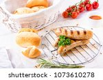 delicious bratwurst with... | Shutterstock . vector #1073610278
