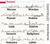 vector outline icons of poland...   Shutterstock .eps vector #1073613452