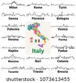 vector outline icons of italian ... | Shutterstock .eps vector #1073613455
