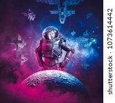 intergalactic female space hero ... | Shutterstock . vector #1073614442