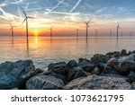 romantic atmospheric sunset... | Shutterstock . vector #1073621795