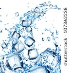 water splash with ice cubes | Shutterstock . vector #107362238