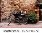 old bike with wooden box on the ... | Shutterstock . vector #1073648072
