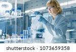 senior female chemist in safety ... | Shutterstock . vector #1073659358