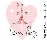 vector illustration i love paris | Shutterstock .eps vector #107366042