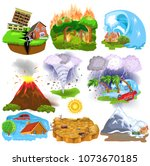natural disasters icons like... | Shutterstock .eps vector #1073670185