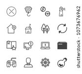 premium outline set of icons... | Shutterstock .eps vector #1073676962