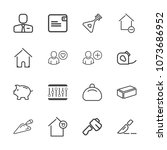 premium outline set of icons... | Shutterstock .eps vector #1073686952