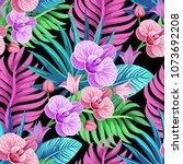 vector seamless tropical... | Shutterstock .eps vector #1073692208