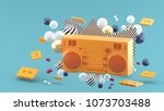orange radio amidst colorful... | Shutterstock . vector #1073703488