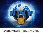 3d rendering padlock with www | Shutterstock . vector #1073719202