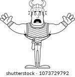 a cartoon viking looking scared. | Shutterstock .eps vector #1073729792
