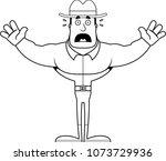 a cartoon cowboy looking scared. | Shutterstock .eps vector #1073729936