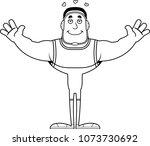 a cartoon wrestler ready to... | Shutterstock .eps vector #1073730692