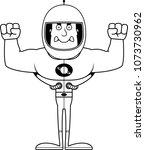 a cartoon astronaut looking... | Shutterstock .eps vector #1073730962