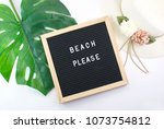 letter board and summer... | Shutterstock . vector #1073754812