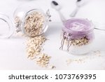 chia seeds pudding with oat... | Shutterstock . vector #1073769395