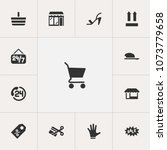 set of 13 editable trade icons. ...