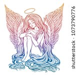 young girl with wings of an... | Shutterstock .eps vector #1073790776