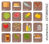 everyday food common goods... | Shutterstock .eps vector #1073800562