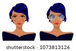 girl in glasses  blonde  ... | Shutterstock .eps vector #1073813126
