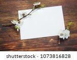 spring flowering branch on... | Shutterstock . vector #1073816828