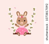 cute bunny sitting on the... | Shutterstock .eps vector #1073817092