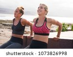 pretty young sporty women... | Shutterstock . vector #1073826998
