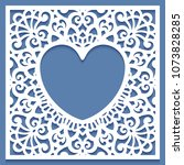 laser cut paper lace frame with ... | Shutterstock .eps vector #1073828285