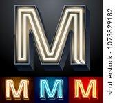 vector neon glowing alphabet... | Shutterstock .eps vector #1073829182