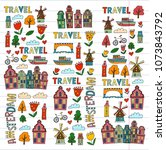 vector pattern with amsterdam... | Shutterstock .eps vector #1073843792
