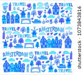 vector pattern with amsterdam... | Shutterstock .eps vector #1073843816