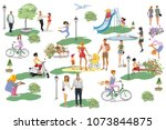 set of people having rest in... | Shutterstock .eps vector #1073844875