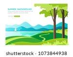 summer landscape background.... | Shutterstock .eps vector #1073844938