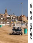 Small photo of XV Rally Costa Brava Historic car race in a small town Palamos in Catalonia. 04. 20. 2018 Spain, town Palamos