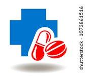pills medical cross icon vector....   Shutterstock .eps vector #1073861516