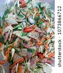 spicy salad with white pork... | Shutterstock . vector #1073866712