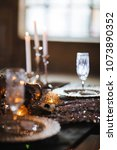 dark wedding decor with crystal ... | Shutterstock . vector #1073890352