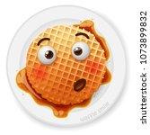 belgium round waffle with... | Shutterstock .eps vector #1073899832