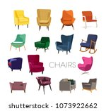vector chair collection... | Shutterstock .eps vector #1073922662
