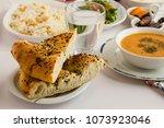 selected bread of ramadan  pide ... | Shutterstock . vector #1073923046