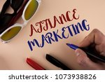 Small photo of Text sign showing Affiance Marketing. Conceptual photo joining two or more companies in same field mutual goal written by Man on plain background holding Marker Sun Glasses and Markers next to it