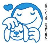 emoji with man petting a rabbit ... | Shutterstock .eps vector #1073974406