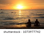 sunset time at a beautiful... | Shutterstock . vector #1073977742