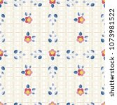 seamless floral pattern. simple ... | Shutterstock .eps vector #1073981522